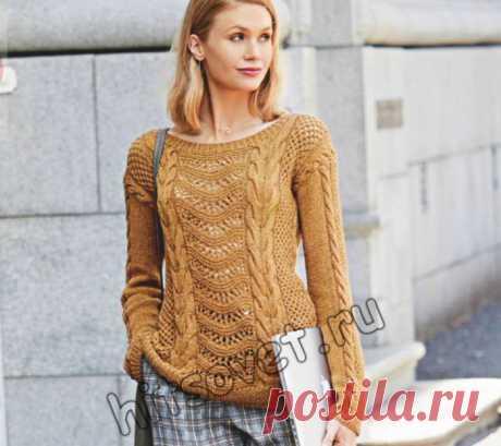 Вязание спицами для женщин модного узорчатого пуловера со схемами и пошаговым описанием.