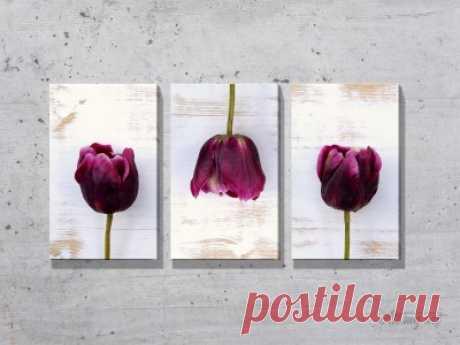 Модульные картины с тюльпанами. #картина #модульнаякартина #декор #интерьер #дизайнинтерьера #уют #атмосфера