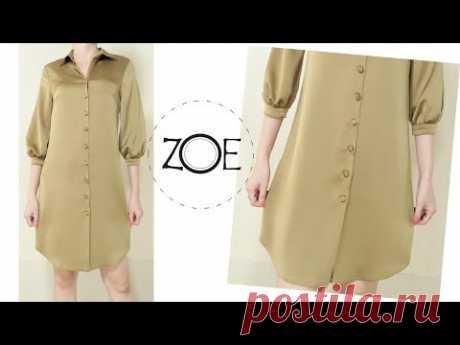 DIY Sewing 3/4 Cuff Sleeves Shirt Dress Develop Basic Pattern | Zoe DIY