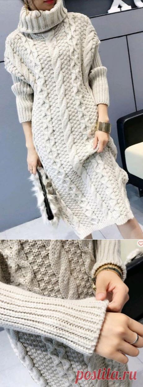 Вязаное платье с косами спицами, схемы