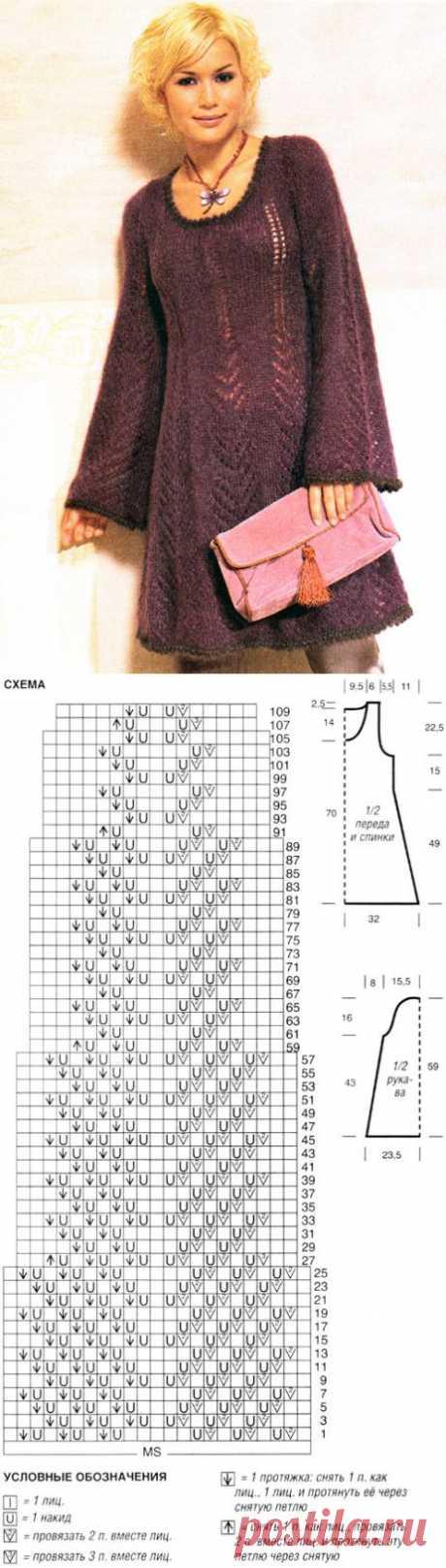 Вязаное расклешенное платье | Вязание