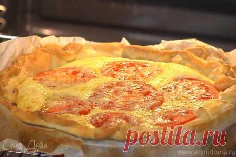 Пирог с помидорами и творогом