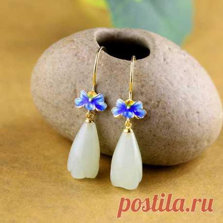 Jade women earrings Flower earrings-boho earrings-drop   Etsy