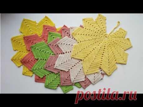 Вязаные салфетки крючком: листья. Схема