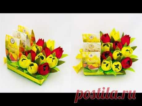 Дарим чай красиво. Весенняя композиция с цветами из конфет и коробкой чая