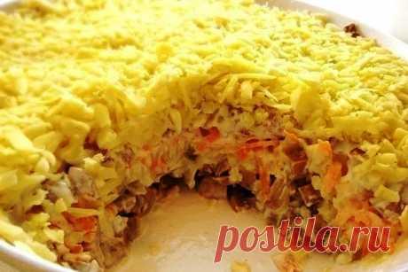 Салат Белая ночь рецепт с фото Очень популярный салат Белая ночь, быстрого приготовления. Очень приятный на вкус, сочетание грибочков, мяса сыры и овощей, очень хорошее