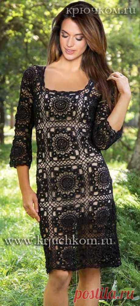 Красивое платье, прямого силуэта крючком из отдельных  мотивов. Описание вязания, схема мотива.   Все вяжут.сом/Everyone knits.com  