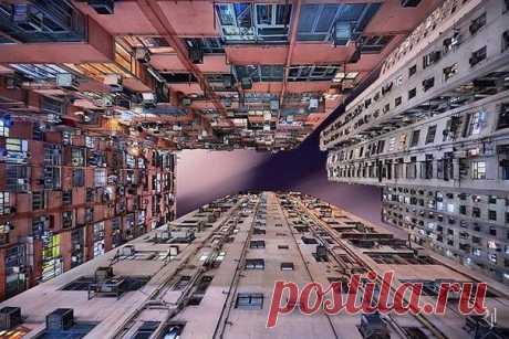 Фотограф несколько лет наблюдал за тем, как Гонконг растёт вверх, пока большинство других мегаполисов разрастаются вширь / Занимательная реклама