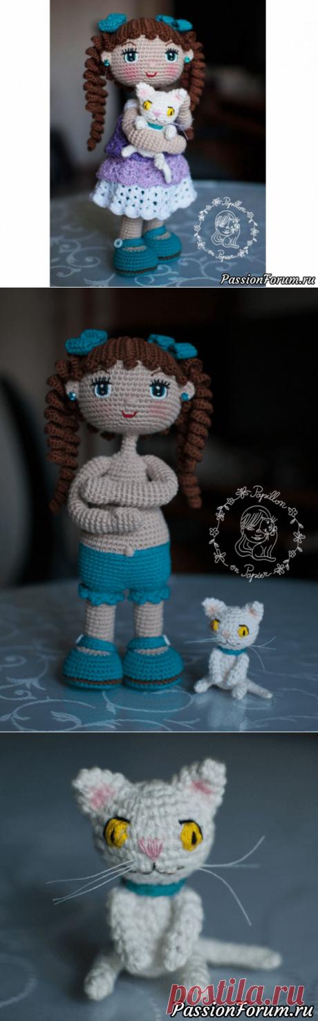 Кукла Алекса амигуруми с котенком. МК | Вязаные игрушки. Мастер-классы, схемы, описание.