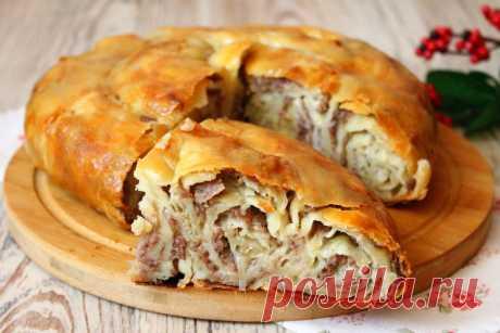 Вкусный сытный пирог с фаршем и картофелем на пельменном тесте. Рецепт с фото | Я Готовлю... | Яндекс Дзен