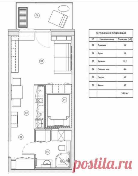 Пример для повторения: стильная квартира-студия площадью 34 м² со спальней в нише | Architect Guide | Яндекс Дзен