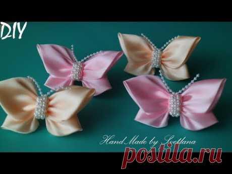 (9129) Бабочки из атласной ленты Бантики 🎀Laço de Cetim 🎀 Satin Ribbon bow 🎀laço de fita - YouTube