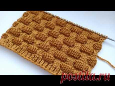 Красивый, объемный, простой узор спицами для вязания пледов, кардиганов, свитеров, шапок.
