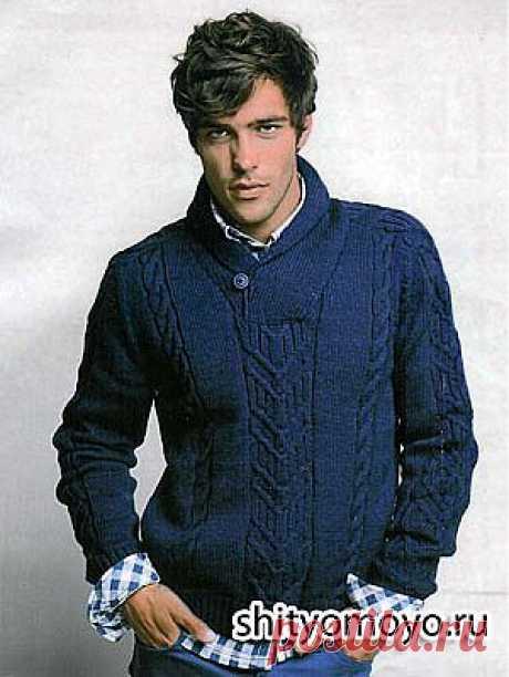 Мужской пуловер с воротником-шалькой, связанный спицами. Описание и схемы бесплатно/Для мужчин/Вязание/Статьи / Шитье, вязание, рукоделие, бисероплетение