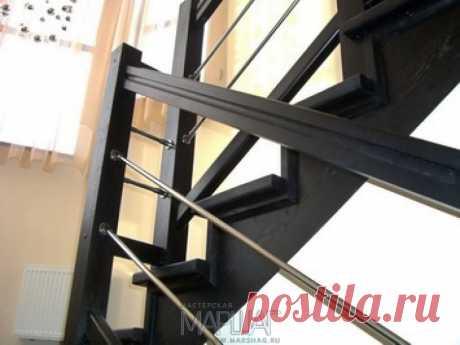 Лестницы, ограждения, перила из стекла, дерева, металла Маршаг – Нержавеющие ограждения деревянной лестницы
