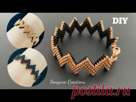 Сложенный Пейот Зигзаг браслет / / сложенный Пейот серьги / / двухсторонний браслет из бисера