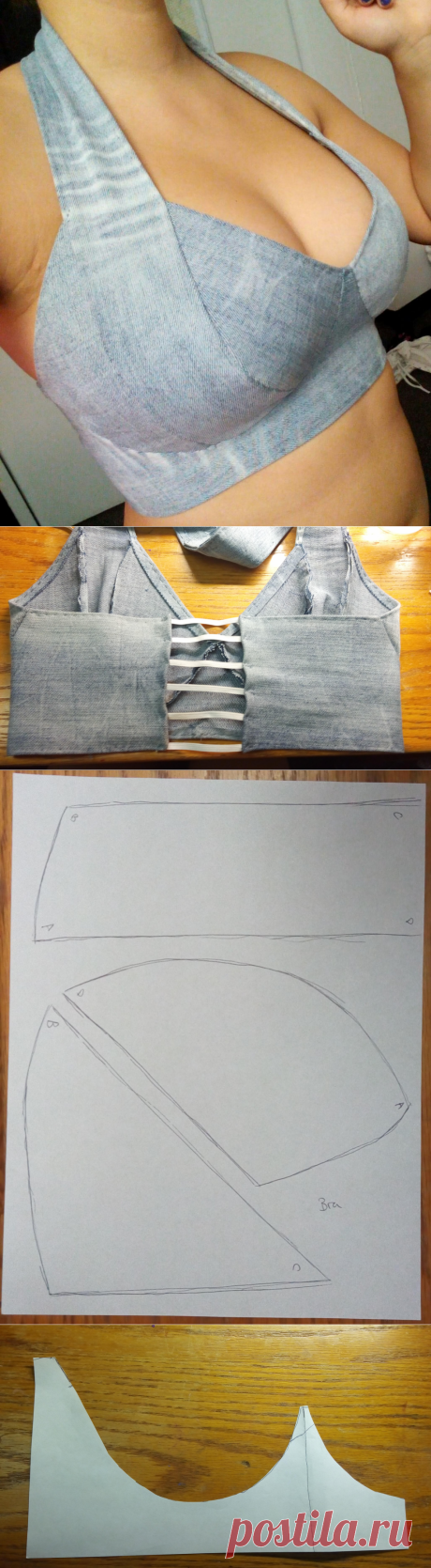 Crafting with Fifi: Bra / Halter Top From Left Over Jean Legs