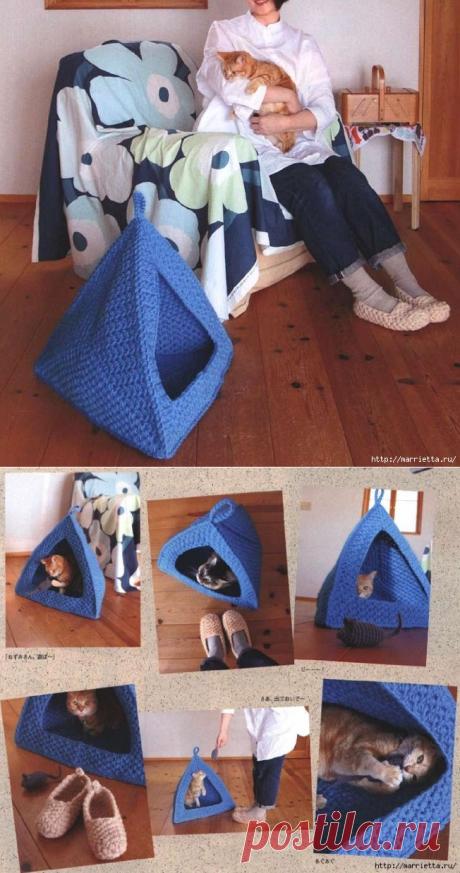 Вяжем крючком уютный ДОМИК для кошки