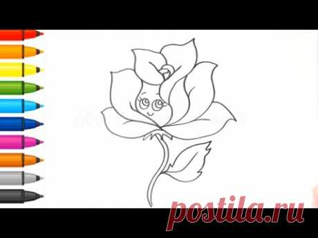 Coloring - How to draw a rose