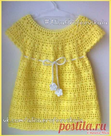Желтый сарафанчик для малышки - Вяжем вместе он-лайн - Страна Мам