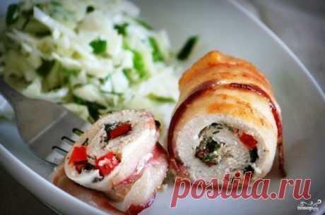 Куриные рулетики в беконе - пошаговый рецепт с фото на Повар.ру