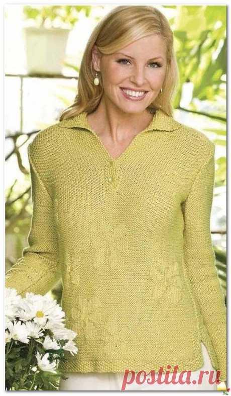 Пуловер с теневым узором и воротником апаш.