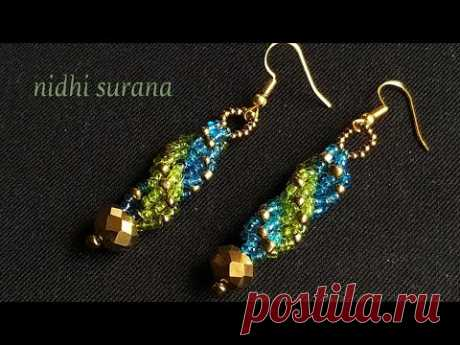 🔀 Double Spiral Weave Earrings || Seed bead Earrings DIY (0193)