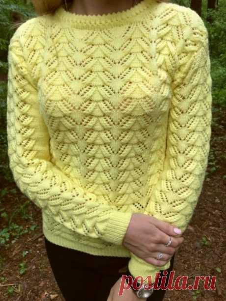 Узор для теплого свитера спицами