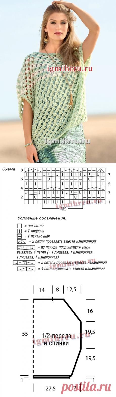 ПРОСТОРНЫЙ ЛЕТНИЙ ПУЛОВЕР С КРУПНЫМ СЕТЧАТЫМ УЗОРОМ. Вязание спицами