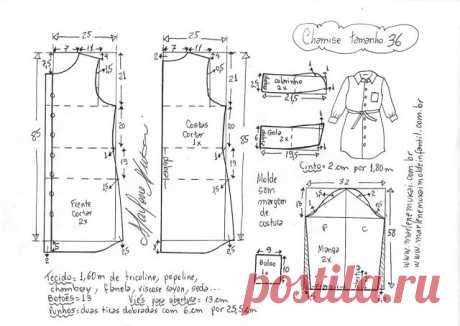 Мастера и умники: Шьём платье-рубашку.Размеры 36-50(евро)