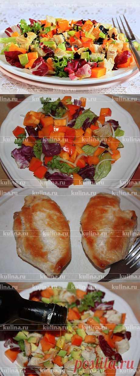 Салат с курицей, хурмой и авокадо – рецепт приготовления с фото от Kulina.Ru