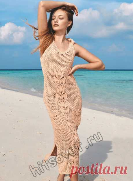 Длинное сетчатое платье спицами - Хитсовет
