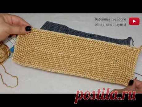 Как вязать - прямоугольная основа для сумок