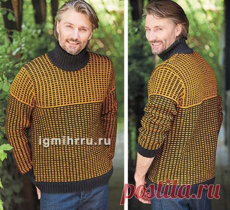 Мужской свитер со структурным узором. Вязание спицами
