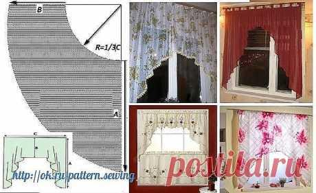 Выкройка шторы «Кошкин дом»