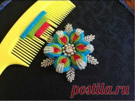 hand embroidery;sewing hacks amazing trick for making a flower with three colors and hair comb.