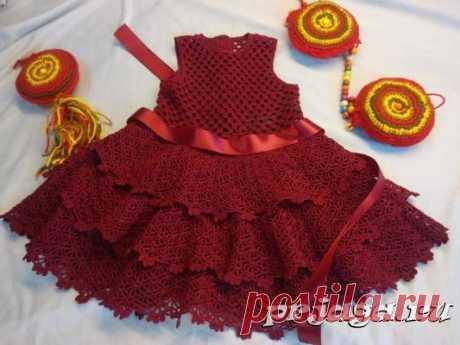 Вишневое платье для девочки крючком, автор Татьяна Кочерга