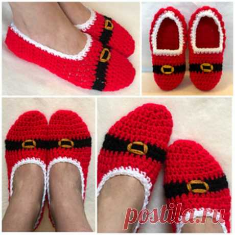 Quick Christmas Santa Slippers Free Pattern | Your Crochet