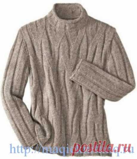 Вязание спицами свитер для мужчины Вязание спицами, свитер для мужчины. Вязаные свитера ручной работы ценятся мужчинами. Красивый, тёплый свитер, который вы можете подарить для своего мужчины