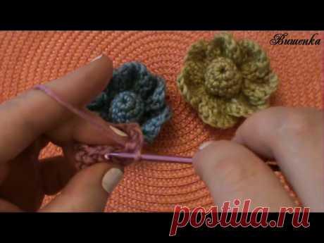 Вязание крючком объемного цветка   Вязание крючком для начинающих