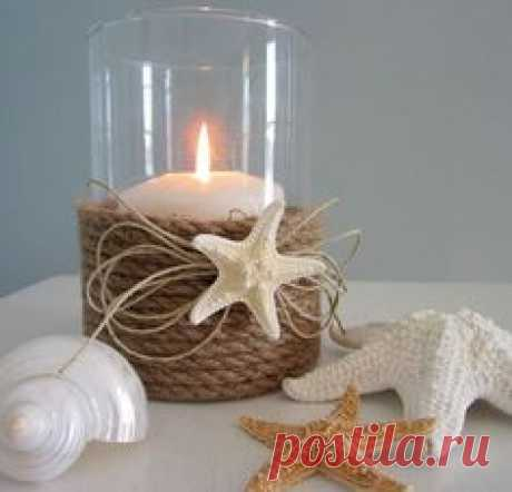 DIY Nautical Rope and Starfish Candle Holder. A plain and common mason jar…