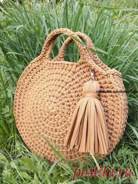 Круглая сумка из джута крючком.