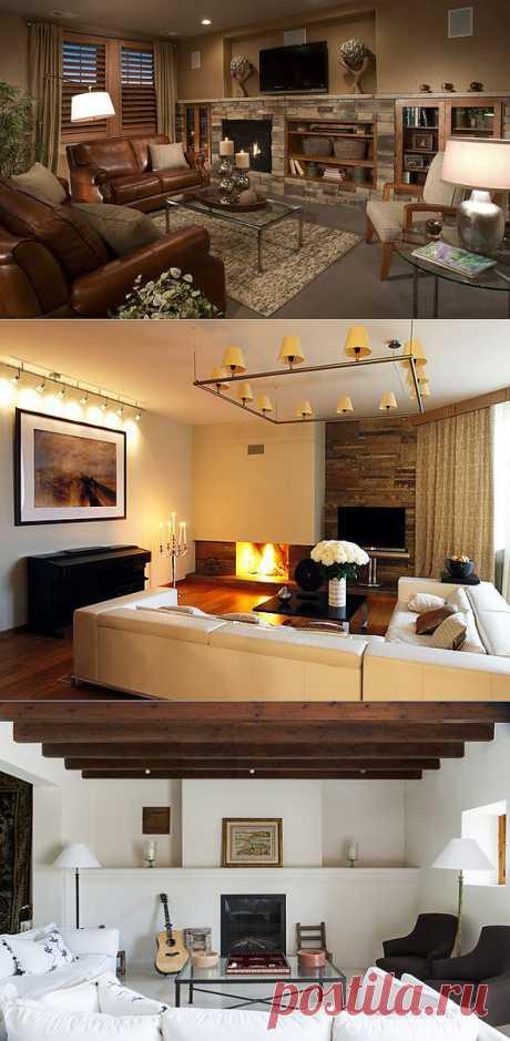 (+1) тема - Неповторимая атмосфера тепла и уюта: камин в гостиной | Интерьер и Дизайн