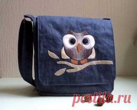 Несколько схем удобных джинсовых сумок
