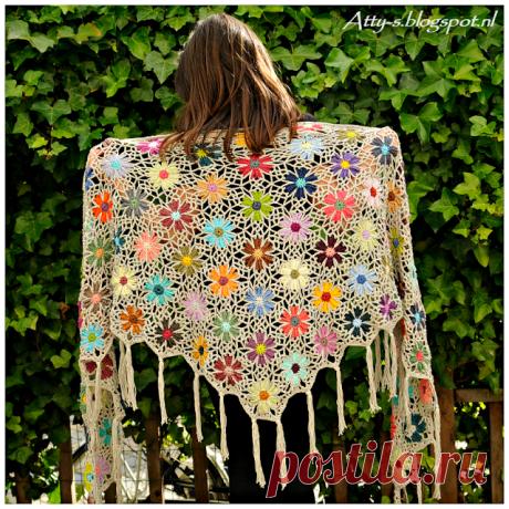 Нарядные шали с цветочными мотивами — Делаем руками
