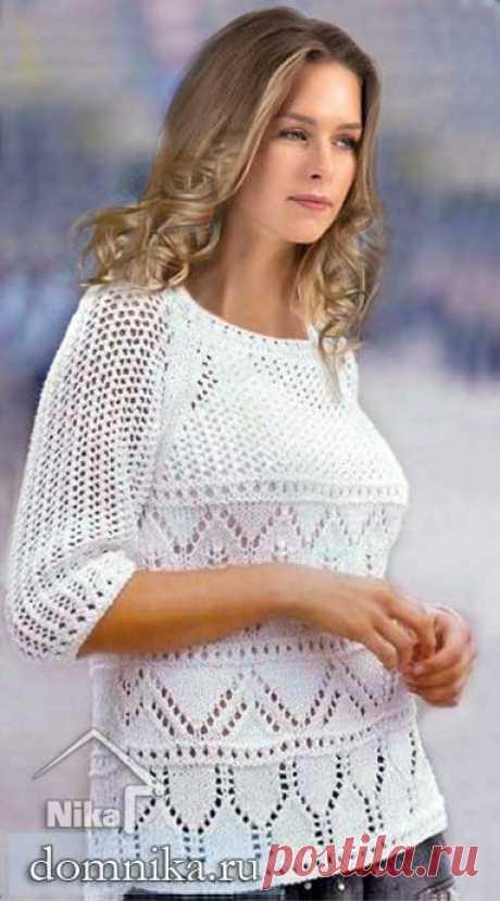Летний джемпер для полных женщин белый пуловер реглан спицами