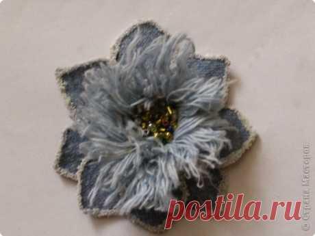 Цветок из джинса №2+МК