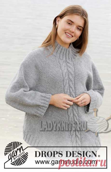 Вязанный спицами свитер-пончо («Северная экспозиция») от DROPS. Описание
