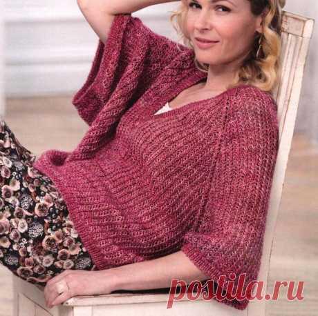 Вязаный спицами укороченный Oversize пуловер от Vogue   Мамины Ручки. Вязание и другое   Яндекс Дзен