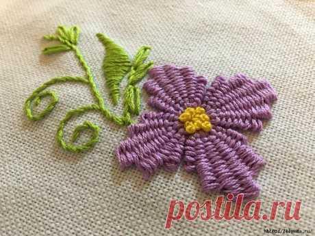 Оригинальная вышивка с переплетением нитей